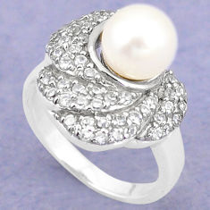 Natural white pearl topaz 925 sterling silver ring jewelry size 7 c25276