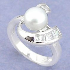 Natural white pearl topaz 925 sterling silver ring jewelry size 7 c25309