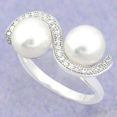Natural white pearl topaz 925 sterling silver ring jewelry size 7 c25439