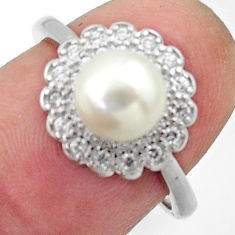 3.91cts natural white pearl topaz 925 sterling silver ring jewelry size 7 c26300