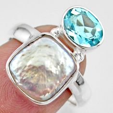 6.99cts natural white pearl topaz 925 sterling silver ring jewelry size 7 r46903