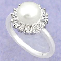 Natural white pearl topaz 925 sterling silver ring jewelry size 8 c25055