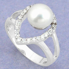Natural white pearl topaz 925 sterling silver ring jewelry size 8 c25088