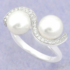 Natural white pearl topaz 925 sterling silver ring jewelry size 8 c25092