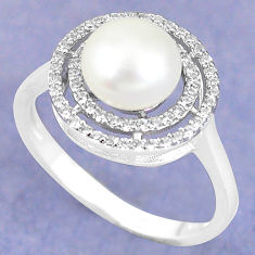 Natural white pearl topaz 925 sterling silver ring jewelry size 8 c25112