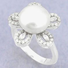 Natural white pearl topaz 925 sterling silver ring jewelry size 8 c25122