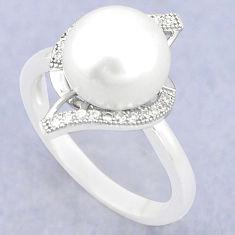 Natural white pearl topaz 925 sterling silver ring jewelry size 8 c25170