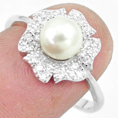 2.56cts natural white pearl topaz 925 sterling silver ring jewelry size 8 c25189