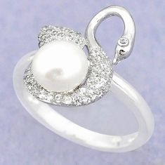 Natural white pearl topaz 925 sterling silver ring jewelry size 8 c25219