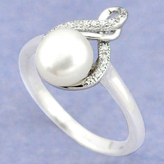 Natural white pearl topaz 925 sterling silver ring jewelry size 8 c25244