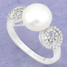 Natural white pearl topaz 925 sterling silver ring jewelry size 8 c25372