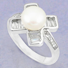 Natural white pearl topaz 925 sterling silver ring jewelry size 8 c25391