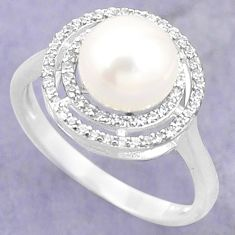 Natural white pearl topaz 925 sterling silver ring jewelry size 8 c25398