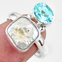 6.99cts natural white pearl topaz 925 sterling silver ring jewelry size 8 r46909