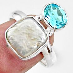 7.20cts natural white pearl topaz 925 sterling silver ring jewelry size 8 r46919
