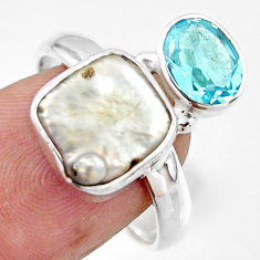 7.63cts natural white pearl topaz 925 sterling silver ring jewelry size 9 r46915