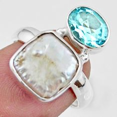 6.80cts natural white pearl topaz 925 sterling silver ring size 5.5 r46910