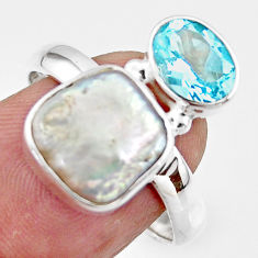 7.29cts natural white pearl topaz 925 sterling silver ring size 8.5 r46918