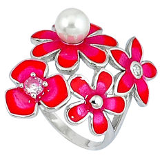 Natural white pearl topaz enamel 925 silver flower ring size 7.5 c15920