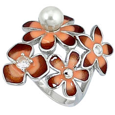 Natural white pearl topaz enamel 925 silver flower ring jewelry size 8 c15909