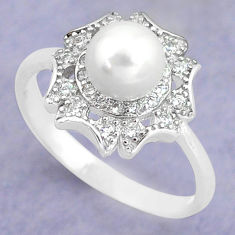 2.72cts natural white pearl topaz round 925 silver solitaire ring size 7 c25331