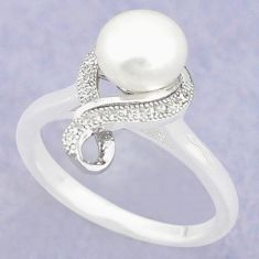 Natural white pearl topaz round 925 sterling silver ring jewelry size 8.5 c25130