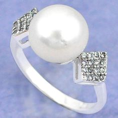 Natural white pearl topaz round 925 sterling silver ring jewelry size 8.5 c25145