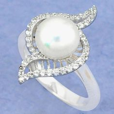Natural white pearl topaz round 925 sterling silver ring jewelry size 7 c25243