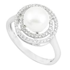 4.14cts natural white pearl white topaz 925 sterling silver ring size 7.5 c25162