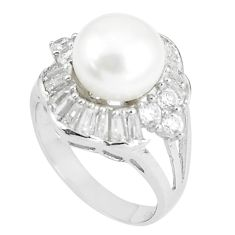 7.83cts natural white pearl white topaz 925 sterling silver ring size 6 c25076