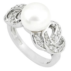 6.33cts natural white pearl white topaz 925 sterling silver ring size 6 c25223
