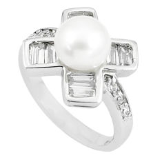 6.32cts natural white pearl white topaz 925 sterling silver ring size 6 c25382
