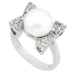 6.96cts natural white pearl white topaz 925 sterling silver ring size 7 c25128