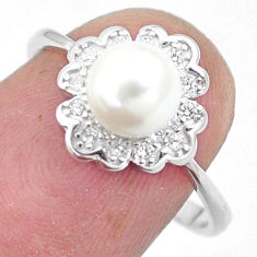 3.33cts natural white pearl white topaz 925 sterling silver ring size 7 c25187