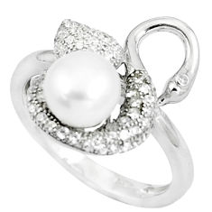 4.42cts natural white pearl white topaz 925 sterling silver ring size 7 c25416