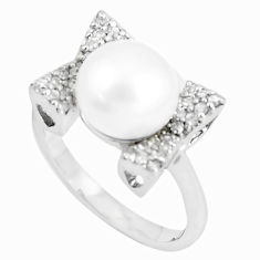 7.29cts natural white pearl white topaz 925 sterling silver ring size 8 c25068