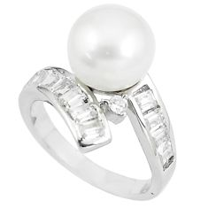 6.33cts natural white pearl white topaz 925 sterling silver ring size 8 c25406