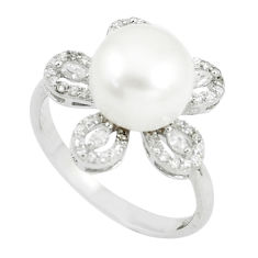 6.01cts natural white pearl white topaz 925 sterling silver ring size 9 c25307