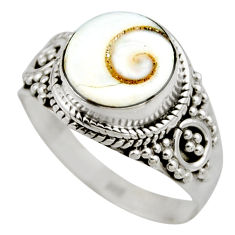 4.18cts natural white shiva eye 925 silver solitaire ring jewelry size 7 r52485