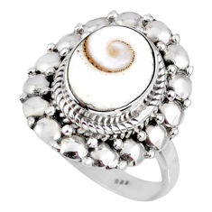 4.21cts natural white shiva eye 925 silver solitaire ring jewelry size 7 r58945