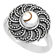 0.88cts natural white shiva eye 925 silver solitaire ring jewelry size 8 r57892