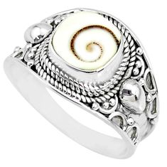 3.19cts natural white shiva eye 925 silver solitaire handmade ring size 9 r74714