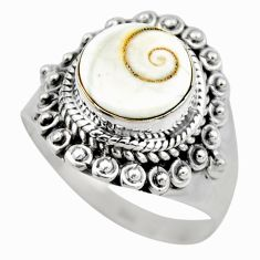4.92cts natural white shiva eye 925 silver solitaire ring size 8.5 r52481