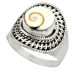 4.69cts natural white shiva eye 925 silver solitaire ring size 7.5 r52487