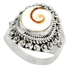 4.69cts natural white shiva eye 925 silver solitaire ring size 7.5 r52497
