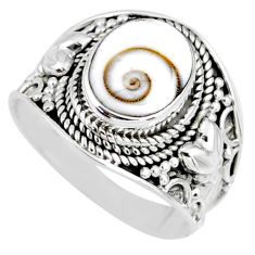 4.08cts natural white shiva eye 925 silver solitaire ring size 7.5 r58299