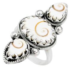 8.14cts natural white shiva eye 925 sterling silver ring jewelry size 6.5 r67354