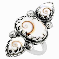 8.42cts natural white shiva eye 925 sterling silver ring jewelry size 6 r67353