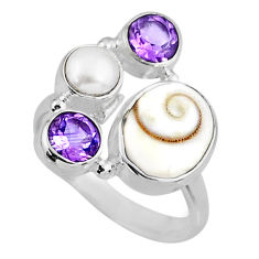 6.95cts natural white shiva eye amethyst 925 sterling silver ring size 7 r57573