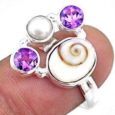 6.72cts natural white shiva eye amethyst 925 sterling silver ring size 8 r57598
